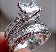abordables -Bague de fiançailles Diamant Solitaire Vert Argent Anneau de couches d'argent Acier inoxydable dames Inhabituel unique 2 pièces 6 7 8 9 10 / Femme / Zircon / Diamant synthétique