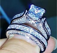 economico -Anello a fascia Diamanti Solitario Argento Rame Donne Elegante Casuale 2 5 6 7 8 9 / Per donna / Zircone cubico