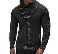 abordables -Homme Couleur Pleine Cardigan Manches Longues Normal Pull Cardigans Col Roulé Automne Hiver Noir Gris Foncé Marron
