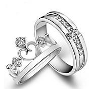 abordables -Anneaux de couple Diamant Blanche Cuivre Couronne Mode 2 pièces Ajustable / Couple / Couple / Zircon
