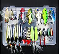 abordables -20 pcs Kit de leurre leurres souples Cuillères Leurre de vibration Affaissé Bass Truite Brochet Pêche en mer Pêche à la mouche Pêche d'appât