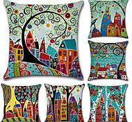 economico -set di 6 fodere per cuscini quadrati decorativi in cotone e lino in stile botanico bohémien set fodera per cuscino per divano camera da letto auto