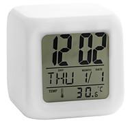 abordables -thermomètre calendrier lumineux numérique cubique lumineux rougeoyante 1pc (blanc, 4xaaa)