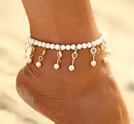 abordables -Bracelet de cheville bijoux de pieds dames Bohème Mode Femme Bijoux de Corps Pour Carnaval Bikini Cristal Perle Goutte Dorée Argent