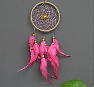 abordables -Boho dream catcher cadeau fait à la main tenture murale décor art ornement artisanat plume perle 40 * 11 cm pour enfants chambre festival de mariage