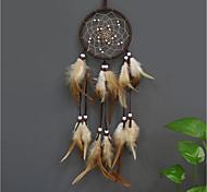 abordables -Boho dream catcher cadeau fait à la main tenture murale décor art ornement artisanat plume indien 55 * 11 cm pour enfants chambre festival de mariage
