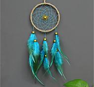 abordables -Boho dream catcher cadeau fait à la main tenture murale décor art ornement artisanat plume perle bleue 11 * 40 cm pour enfants chambre festival de mariage