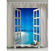 abordables -Rideaux de douche et anneaux Bleu contemporain Polyester Imperméable