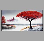 economico -dipinto a olio dipinto a mano - paesaggio / floreale / botanico contemporaneo / moderno tela tesa 100 x 50 cm