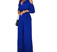 abordables -Combinaison-pantalon Femme Découpé Couleur Pleine Manches Longues Noir Vin Bleu Roi S M L XL XXL