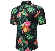 abordables -Homme Chemise Fleurie Tropical Fruit Grandes Tailles Imprimé Manches Courtes Plage Hauts Bohème Noir