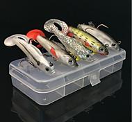 abordables -5 pcs Kit de leurre leurres souples Leurre souple Shad Flottant Bass Truite Brochet Pêche d'appât Pêche au leurre Pêche générale