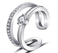 abordables -Cuff Anneau Diamant Dorée Argent Zircon Cuivre dames Coréen Mode Ajustable / Femme / Bague de Phalange