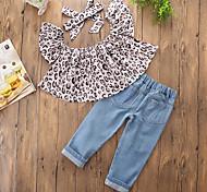 economico -Bambino (1-4 anni) Da ragazza Completo Con stampe Leopardata Senza maniche Leopardata Stampe Jeans Quotidiano Per uscire Grigio Casuale Standard Standard