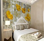 abordables -Grand ensemble de papier peint peint à la main jaune fleur jaune grand mur papier peint fit chambre fleur