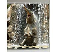 economico -Tende da doccia modello da bagno con elefante con ganci Tenda da bagno impermeabile in poliestere contemporaneo grigio stampato in 3d