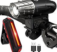 abordables -LED Eclairage de Velo Kit Eclairage Bicyclette Vélo Rechargeable Eclairage de Vélo Avant Eclairage de Vélo Arrière LED VTT Vélo tout terrain Vélo Cyclisme Imperméable Modes multiples Super brillant