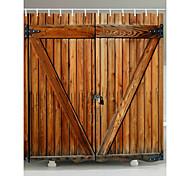 abordables -rideaux de douche avec crochets porte en bois rustique porte en grange tissu polyester rideau de douche imperméable pour salle de bain