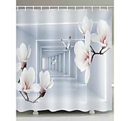 abordables -rideaux de douche motif prune polyester moderne 3d imprimé à la machine rideaux de douche de salle de bains avec crochets imperméables