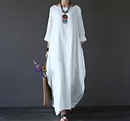 abordables -Femme Robe longue maxi Blanche Noir Rouge Vert Bleu clair Manches 3/4 Blanc Automne Printemps Col Rond chaud Simple Coton énorme L XL XXL 3XL 4XL 5XL / Grandes Tailles