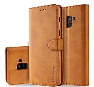 economico -telefono Custodia Per Samsung Galaxy Integrale A8 2018 A8+ 2018 A portafoglio Porta-carte di credito Con supporto Tinta unita Resistente pelle sintetica