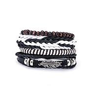 abordables -4pcs Bracelets Plusieurs Tours Bracelets en cuir Bracelets de mémoire Homme Cuir Européen Mode Bracelet Bijoux Noir Irrégulier pour Cadeau Quotidien
