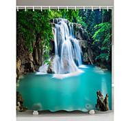 abordables -Salle de Bain Rideaux de douche et anneaux Simple Polyester Imperméable