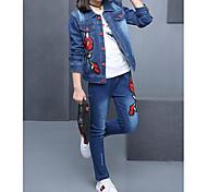 abordables -Enfants Fille Ensemble de Vêtements Couleur Pleine Fleurie Brodée Manches Longues Toile de jean Bleu