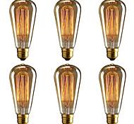 abordables -brelong 6 pcs e27 40w st64 ampoule décorative edison dimmable blanc chaud