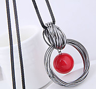 economico -Per donna Collane con ciondolo collana lunga Attorcigliato Avvolgere il filo Di tendenza Europeo Perle finte Lega Bianco Rosso 70 cm Collana Gioielli Per Casual