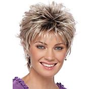 abordables -Perruque Synthétique Droit Coupe Lutin Perruque Court Blond Auburn Rouge Cheveux Synthétiques 6 pouce Femme Racines foncées Blond