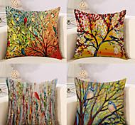 economico -Fodera per cuscino in cotone / lino 4 pezzi, floreale floreale&Piante Rustiche Quadrate Classiche Tradizionali Divani Per Casa Decorativi