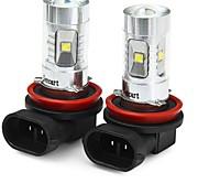 abordables -SENCART Moto / Automatique LED Feu Antibrouillard H8 Ampoules électriques 1800-2100 lm LED SMD 30 W 6 Pour Universel Toutes les Années 2 pièces