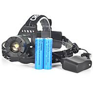 abordables -Lampes Frontales Eclairage sécurité / feu clignotant velo Phare Avant de Moto 5000 lm LED Émetteurs 1 Mode d'Eclairage avec Piles et Chargeur Portable Professionnel Etanche Poids Léger Camping