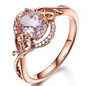 abordables -Femme Bague de fiançailles Diamant synthétique Solitaire Champagne Cuivre Plaqué Or Rose Métal Boule dames Bohème Mode 6 7 8 9 10