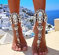 abordables -Sandales Pieds Nus bijoux de pieds dames Européen Bikini Femme Bijoux de Corps Pour Quotidien Bikini Chaîne épaisse Imitation de diamant Alliage Dorée Argent 1 pc