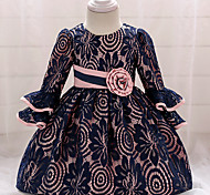abordables -bébé Fille Rétro Vintage Sortie Anniversaire Couleur Pleine Manches 3/4 Mi-long Robe Bleu Marine