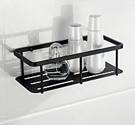 economico -mensola da bagno rettangolare in acciaio inox a parete rustico set di stoccaggio per soggiorno e bagno nero opaco 1 pz