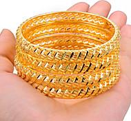 abordables -4 pièces Bracelet Bracelets Manchettes Bracelets Ensemble de bracelet Femme Sculpture Gravé Plaqué or dames Ethnique Mariage Afrique Dubai Italien Bracelet Bijoux Jaune Dorée Irrégulier pour Soirée