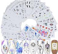 abordables -40 feuilles d'autocollants pour ongles Nail Art Autocollants de transfert d'eau Autocollants de filigrane écologiques Une variété de modèles de tendance d'impression de couleur pour les décorations