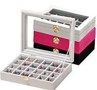 abordables -Grande boîte à bijoux de rangement en bois pour femmes, 24 pièces