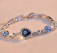 abordables -Chaînes Bracelets Femme Chaîne unique Cristal Cœur simple Basique Bracelet Bijoux Blanche Rose Vert pour Cadeau Plein Air