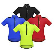 abordables -WOSAWE Homme Manches Courtes Maillot Velo Cyclisme Rouge Vert Bleu Cyclisme Maillot VTT Vélo tout terrain Vélo Route Bandes Réfléchissantes Poche arrière Des sports Vêtement Tenue / Elastique