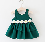 abordables -bébé Fille Actif Géométrique Sans Manches Coton Robe Jaune / Bébé