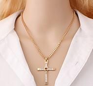 economico -Per uomo Collane con ciondolo Croce Fede Rock Coreano Lega Oro Argento 48 cm Collana Gioielli 1pc Per Quotidiano