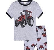 abordables -Bébé Garçon Ensemble de Vêtements Imprimé Manches Courtes Coton Ecole Quotidien Gris Actif Rétro Vintage Normal Normal