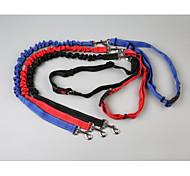 abordables -Chien Laisses Laisse Mains Libres Portable Respirable réglable flexible Pliage Randonnée Marche Couleur Pleine Nylon Noir Rouge Bleu