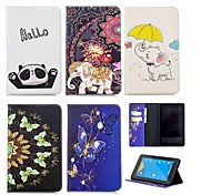 economico -telefono Custodia Per Amazon Integrale Kindle Fire 7 (7a generazione, versione 2017) A portafoglio Porta-carte di credito Con supporto Elefante Resistente pelle sintetica