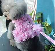 abordables -Chien Chat Petits Animaux à Fourrure Harnais Laisses Marche Mignon et câlin Nœud Fleur Nœud papillon Tissu Rauque Malamute d'Alaska Golden Retriever Dalmatien Corgi Beagle Rose