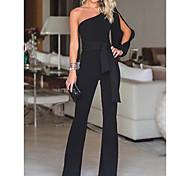 abordables -Combinaison-pantalon Cordon Femme Sans Manches Couleur Pleine basique Blanche Noir Rouge Rose Claire Vin Bleu Roi S M L XL